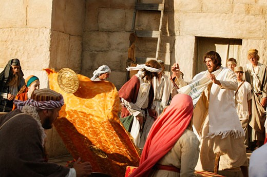 Jesus shows his anger outside the temple : Stock Photo