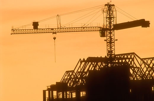 Stock Photo: 1889R-4990 Silhouette of a large crane