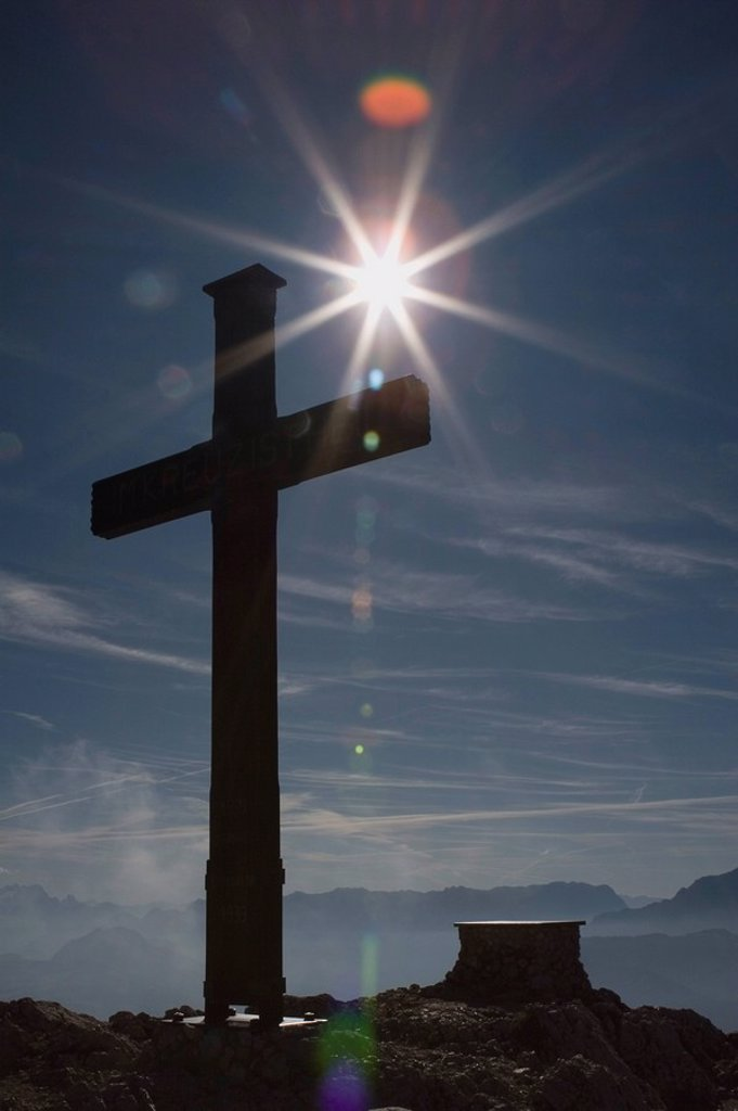 Stock Photo: 1889R-50063 cross at the top of a mountain, grodig, salzburger land, austria