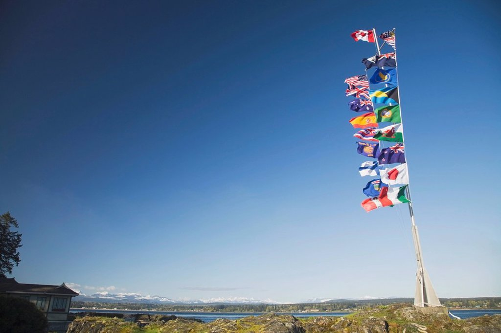 international flags, campbell river, british columbia, canada : Stock Photo