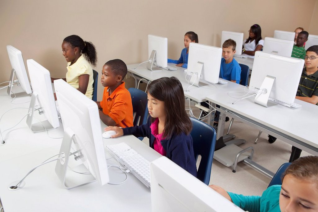 Stock Photo: 1889R-50340 students in computer class