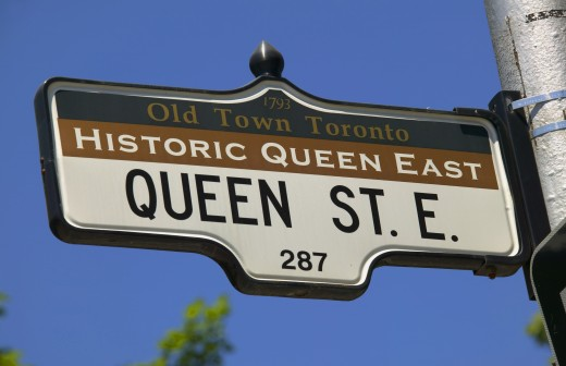 Stock Photo: 1889R-5139 Queen St. E. Toronto Canada street sign