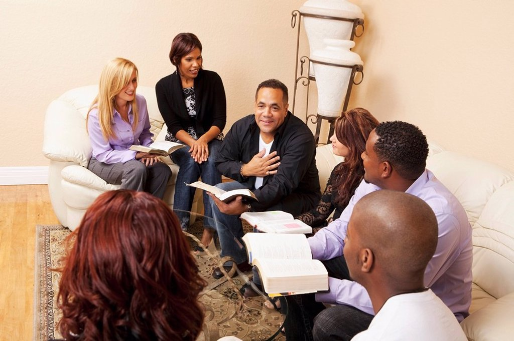 Stock Photo: 1889R-51545 a group of adults in a home bible study