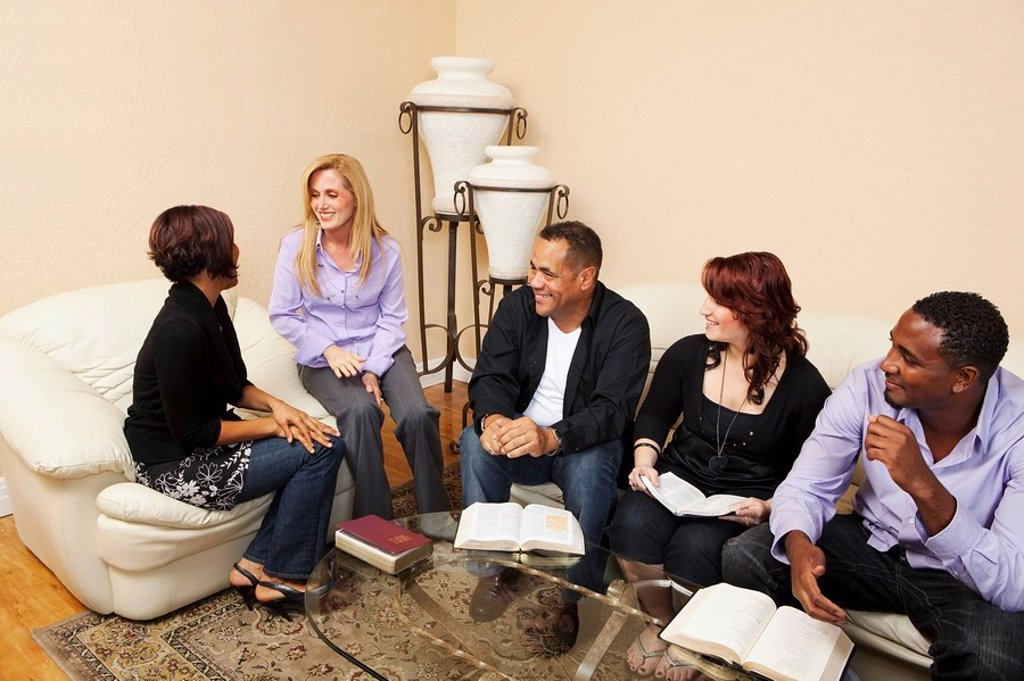 Stock Photo: 1889R-51561 a group of adults in a home bible study