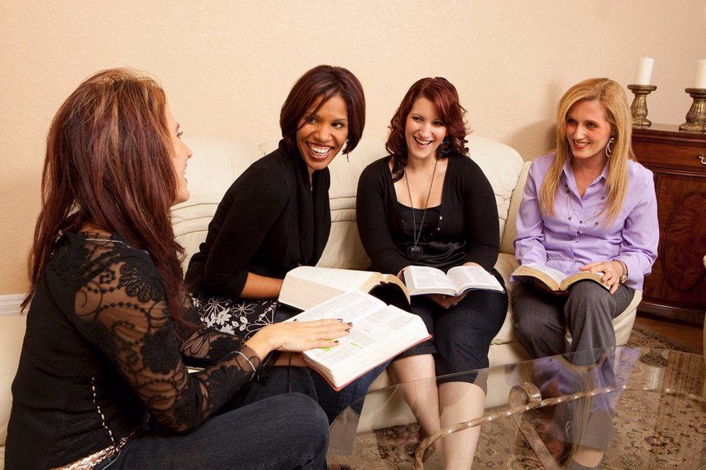 Stock Photo: 1889R-51790 women at a home bible study