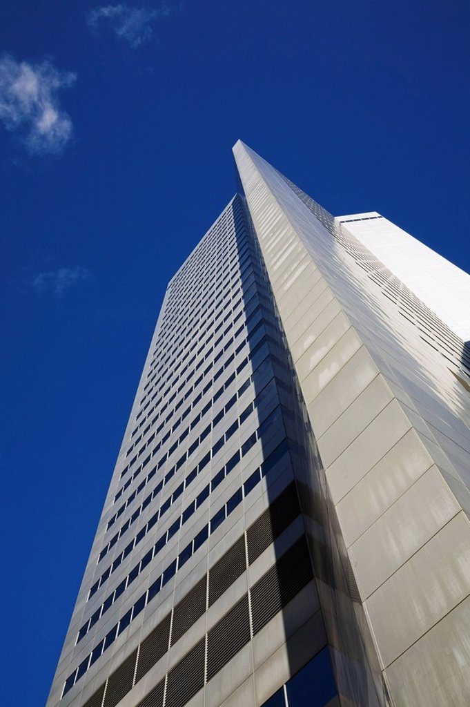 montreal, quebec, canada, steel and glass office tower building against a blue sky : Stock Photo