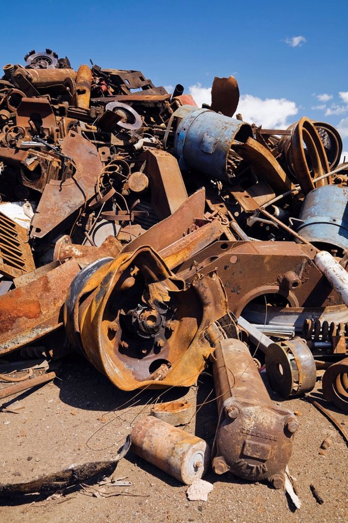 Stock Photo: 1889R-52519 quebec, canada, pile of assorted rusted ferous metal parts and pieces at a scrap metal recycling junkyard