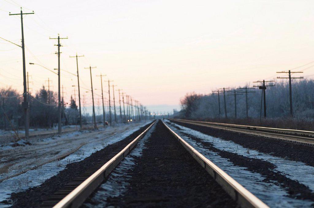 winnipeg, manitoba, canada, ice along the train tracks : Stock Photo