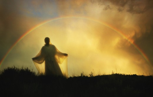 Rainbow above angel : Stock Photo