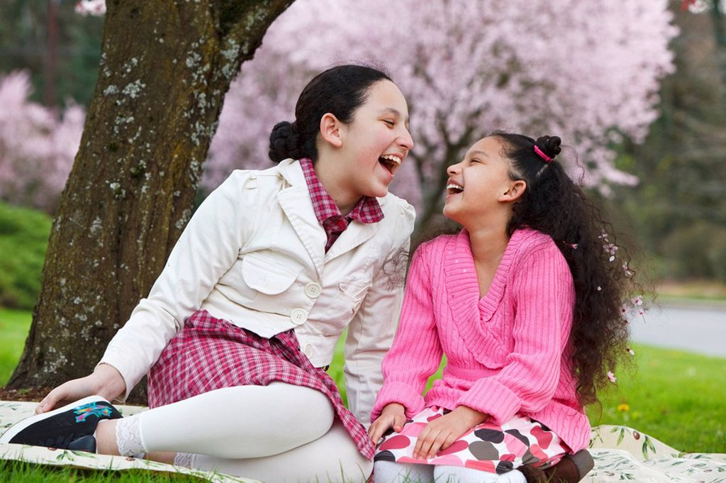 Stock Photo: 1889R-54158 portland, oregon, united states of america, girls laughing under a cherry blossom tree