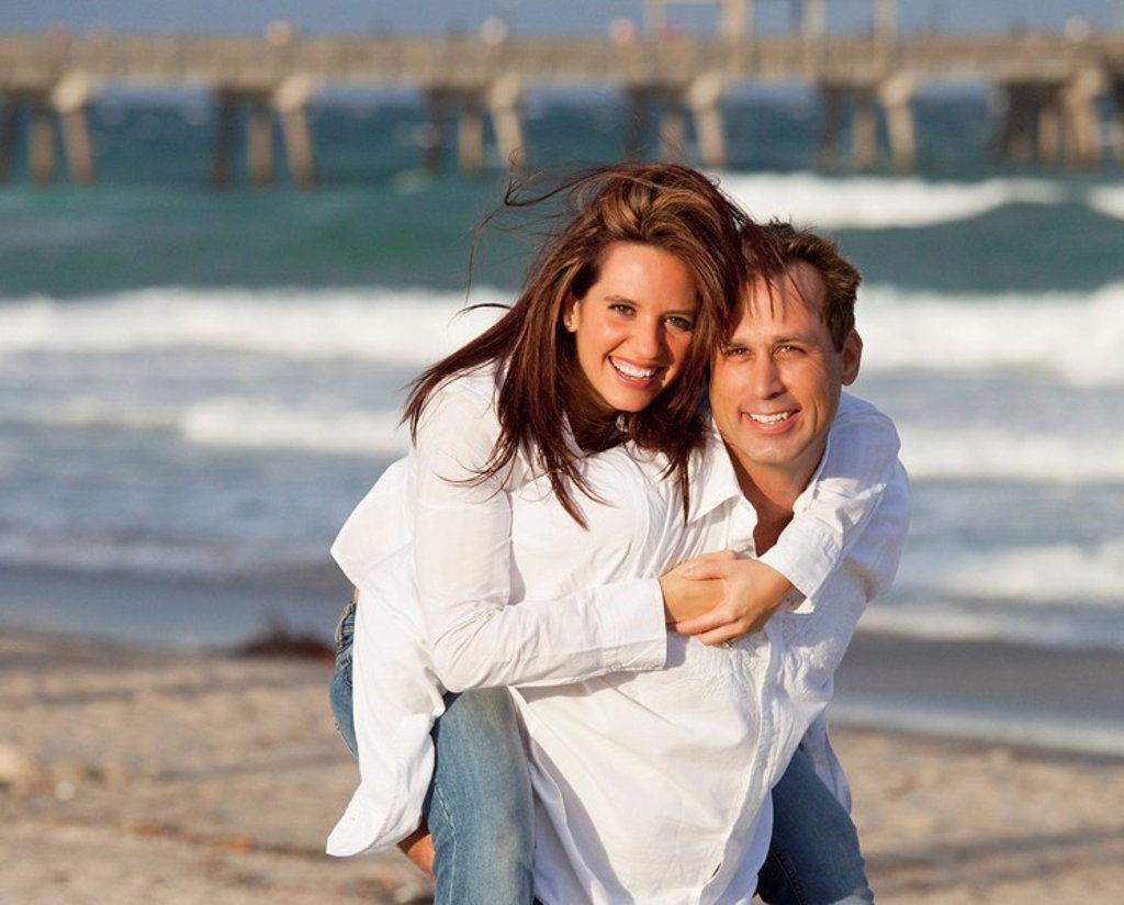 Stock Photo: 1889R-54756 Fort Lauderdale, Florida, United States Of America, A Couple On The Beach