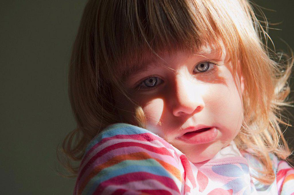 cadiz, spain, a young girl looking sad : Stock Photo