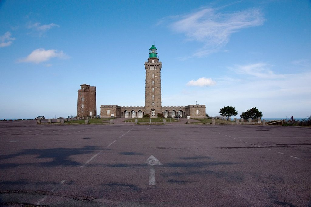 Stock Photo: 1889R-55735 a building with a tall tower, normandy, france