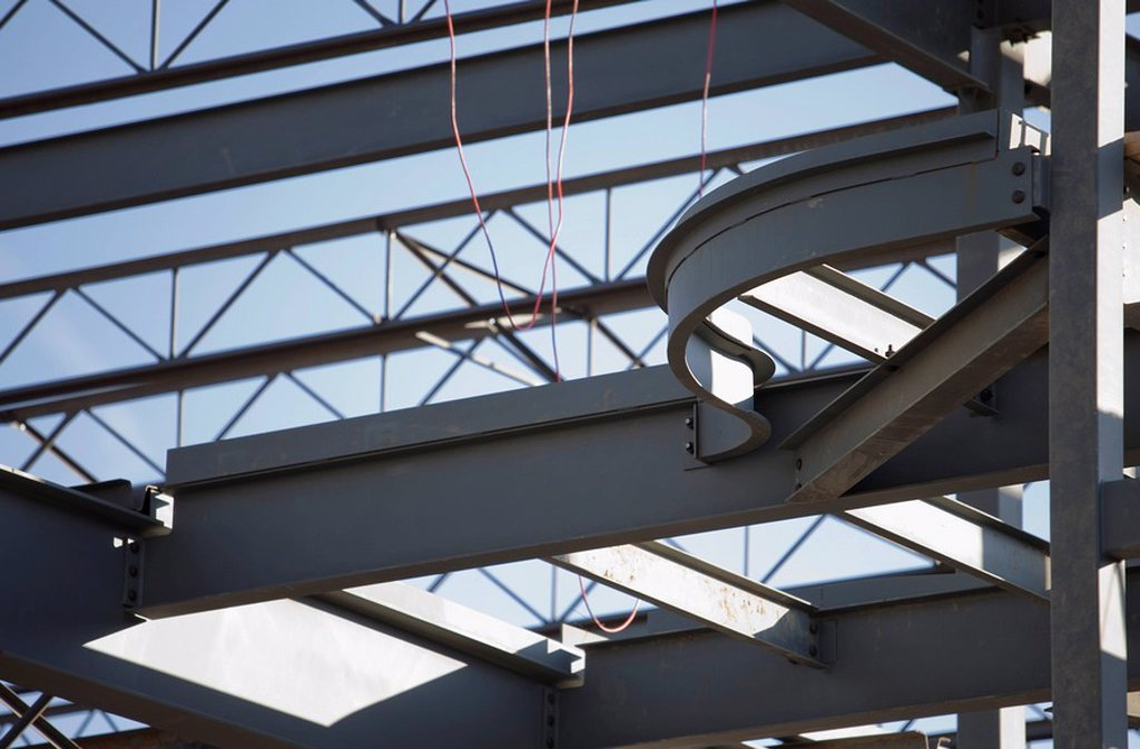 st. albert, alberta, canada, steel frame of a building under construction : Stock Photo