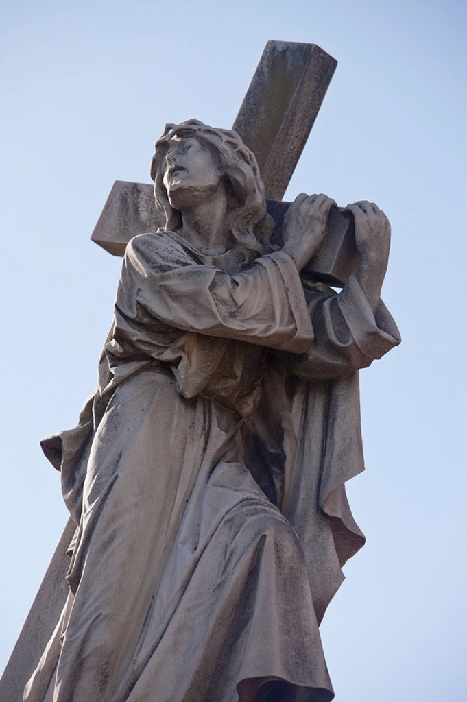 Buenos Aires, Argentina, A Stone Statue Of Jesus Carrying His Cross In Recoleta Cemetery : Stock Photo