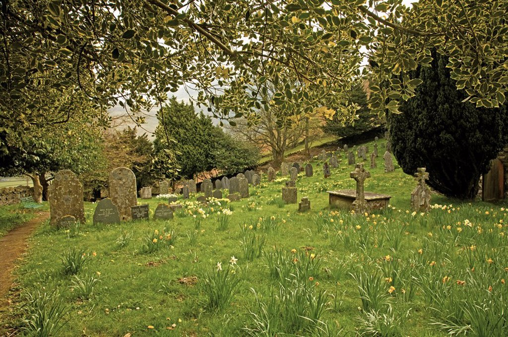 Keswick, Cumbria, England, A Cemetery In St. John´s In The Vale Church Yard In Lake District National Park : Stock Photo