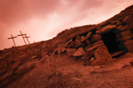Stock Photo: 1889R-6074 The cross and an empty tomb