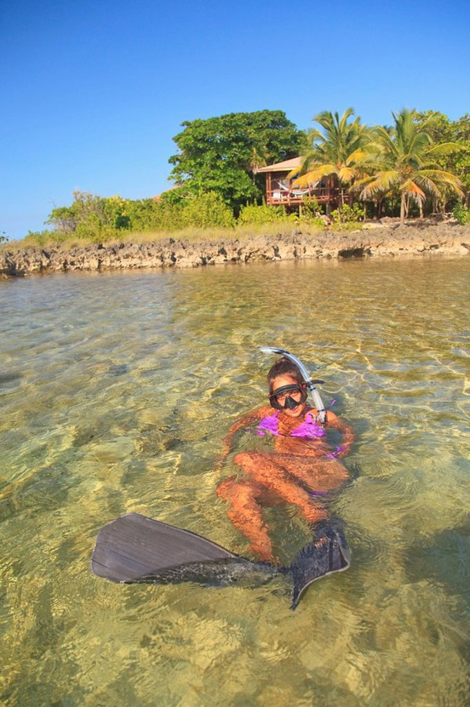 Roatan, Bay Islands, Honduras, A Young Woman Snorkeling At Anthony´s Key Resort : Stock Photo
