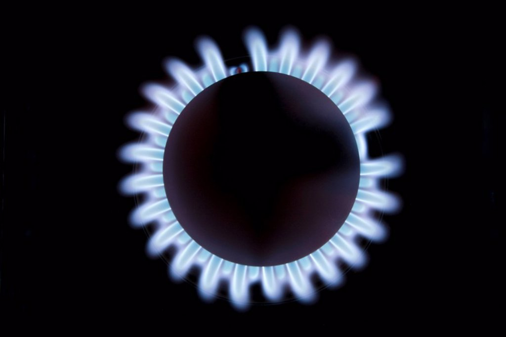 Stock Photo: 1889R-60975 Gas Burner With Blue Flame