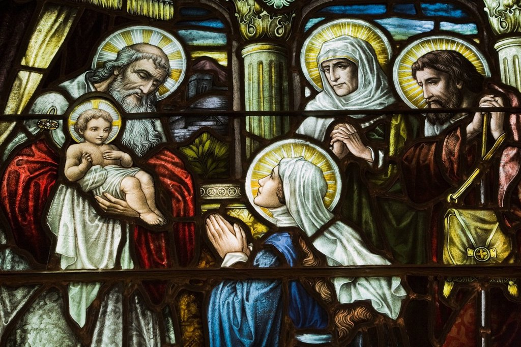Stained Glass Window Depicting A Religious Scene In The Cathedral Of The Holy Trinity, Quebec City, Quebec, Canada : Stock Photo