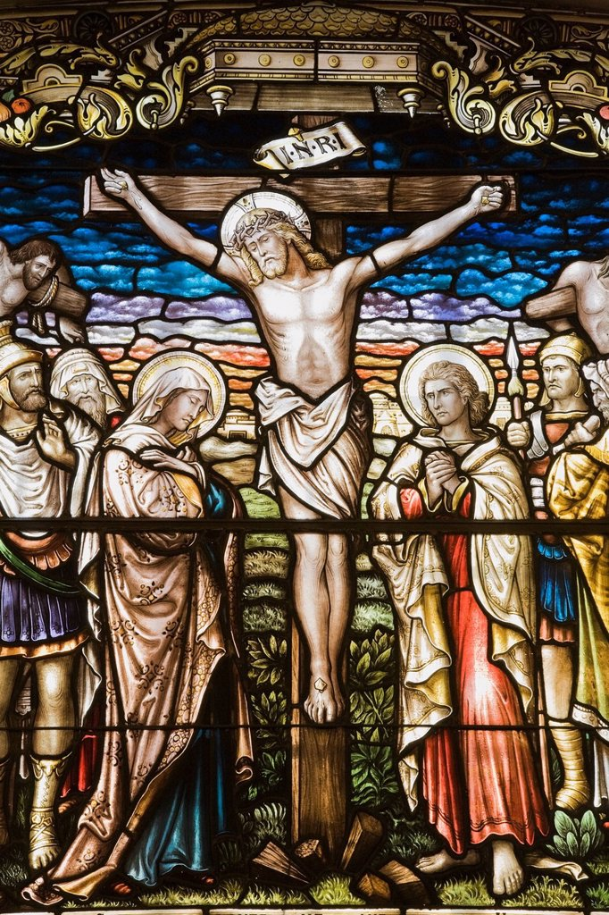 Stained Glass Window Depicting A Crucifixion In The Cathedral Of The Holy Trinity, Quebec City, Quebec, Canada : Stock Photo