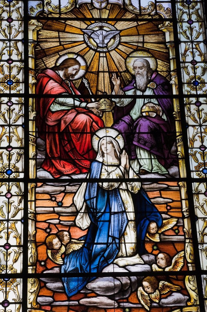 Stock Photo: 1889R-61123 Stained Glass Window Depicting A Religious Scene In The Notre_Dame De Quebec Basilica _ Cathedral, Quebec City, Quebec, Canada