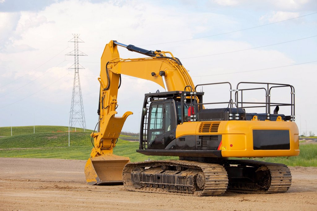 Stock Photo: 1889R-61140 Road Construction Using A Backhoe, Edmonton, Alberta, Canada