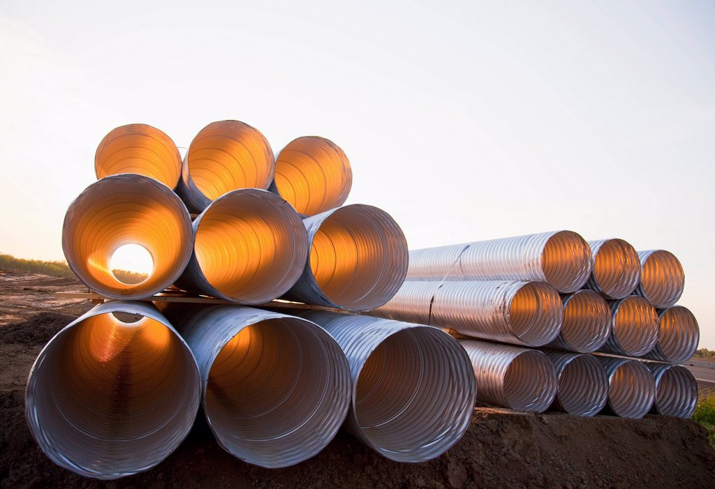Stack Of Culvert Pipes, Edmonton, Alberta, Canada : Stock Photo