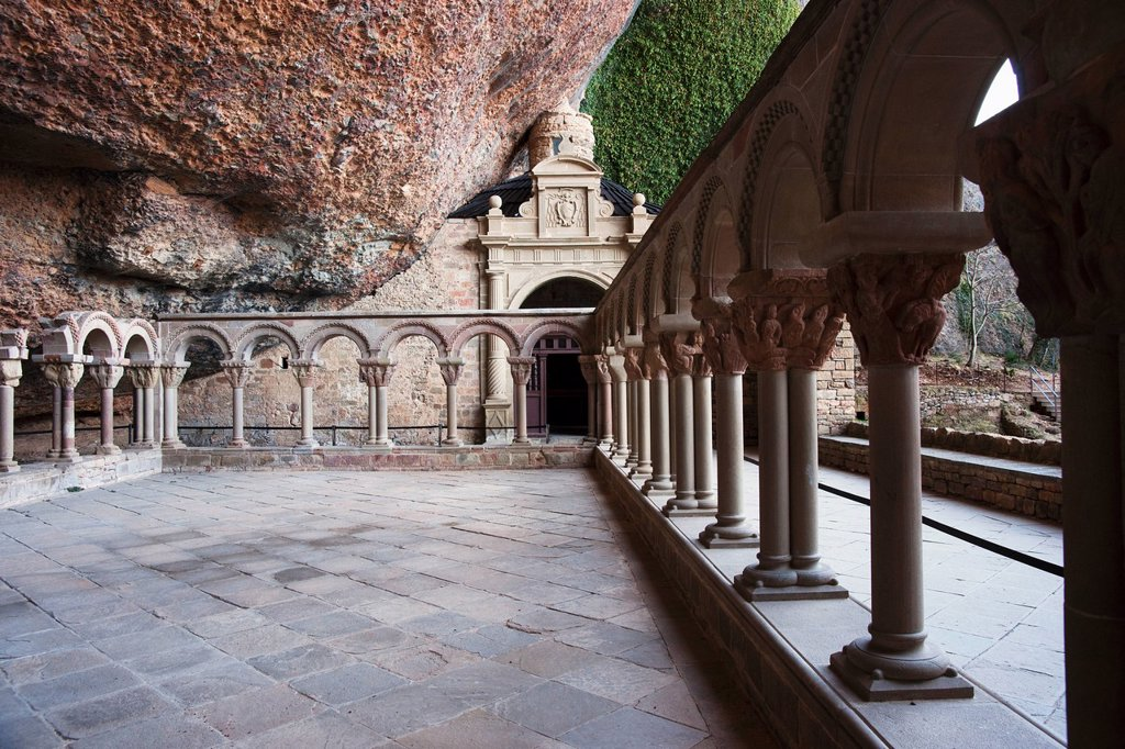 Cloister With A Series Of Capitals With Biblical Scenes At The Monastery Of San Juan De La Pena, Huesca, Spain : Stock Photo