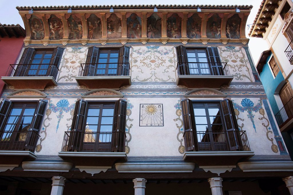 Neoclassical_Style Mural Paintings On The Side Of A Building In Coreche Square, Graus, Huesca, Spain : Stock Photo