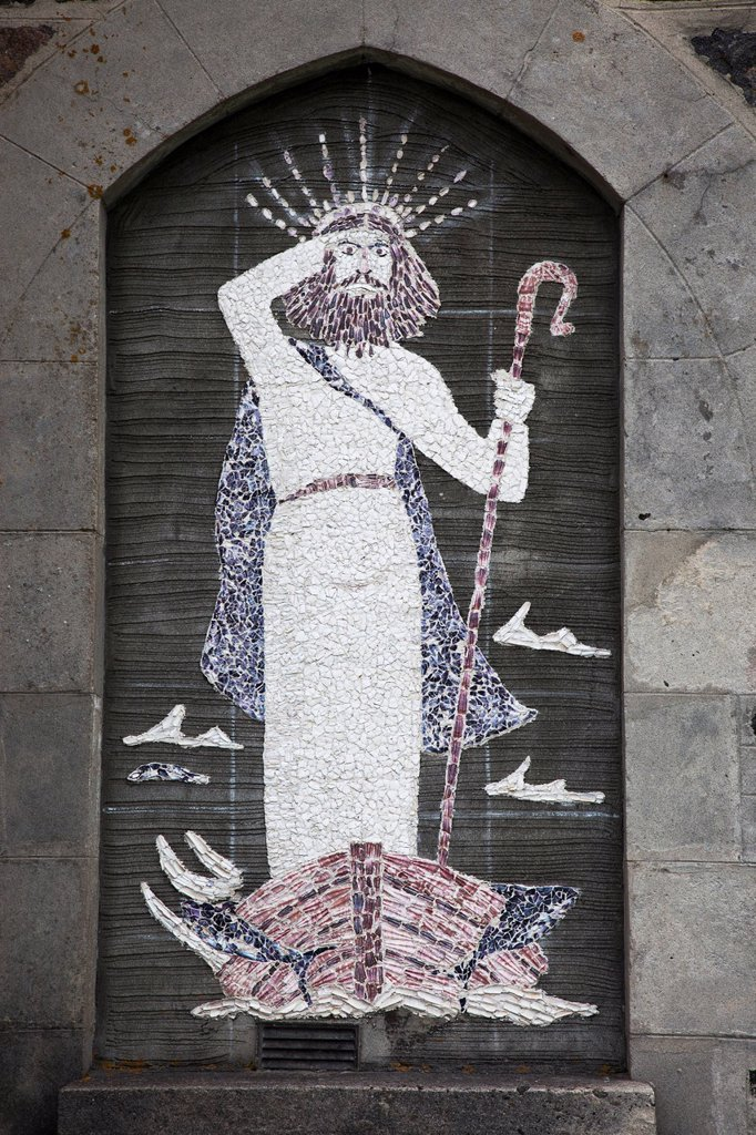 Stock Photo: 1889R-61501 Depiction Of Jesus Christ Made Of Tile On The Wall, St. Barrs, Isle Of Barra, Scotland