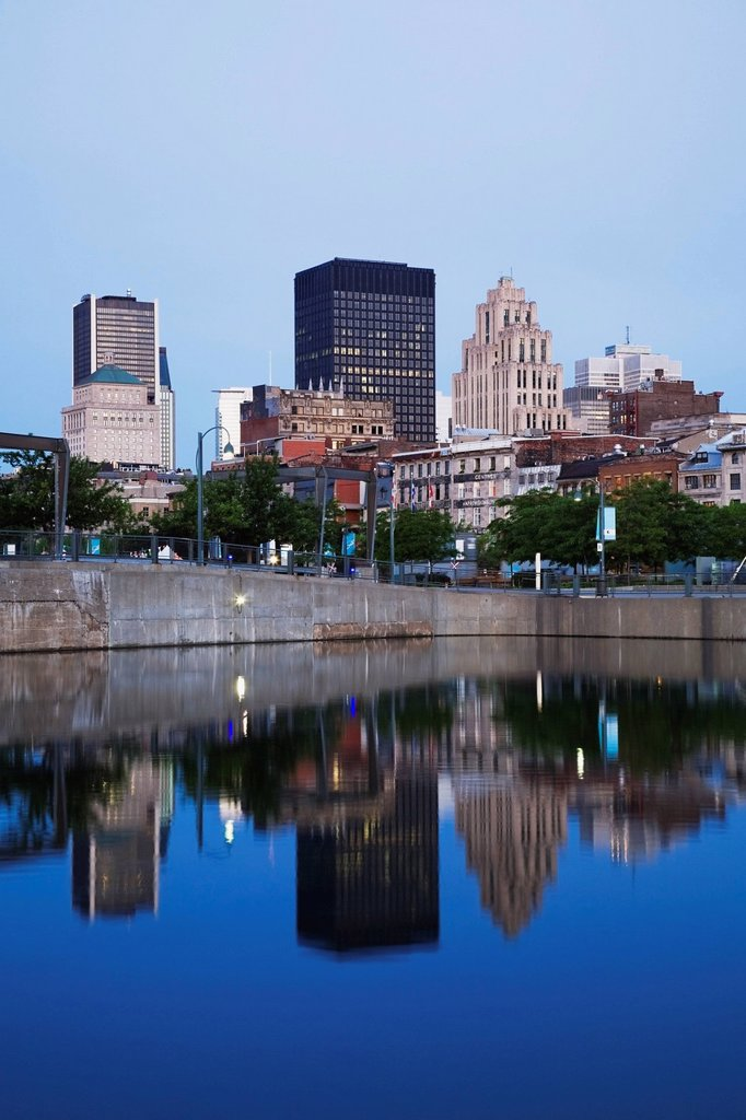 Skyline Reflected In The Water, Montreal, Quebec, Canada : Stock Photo