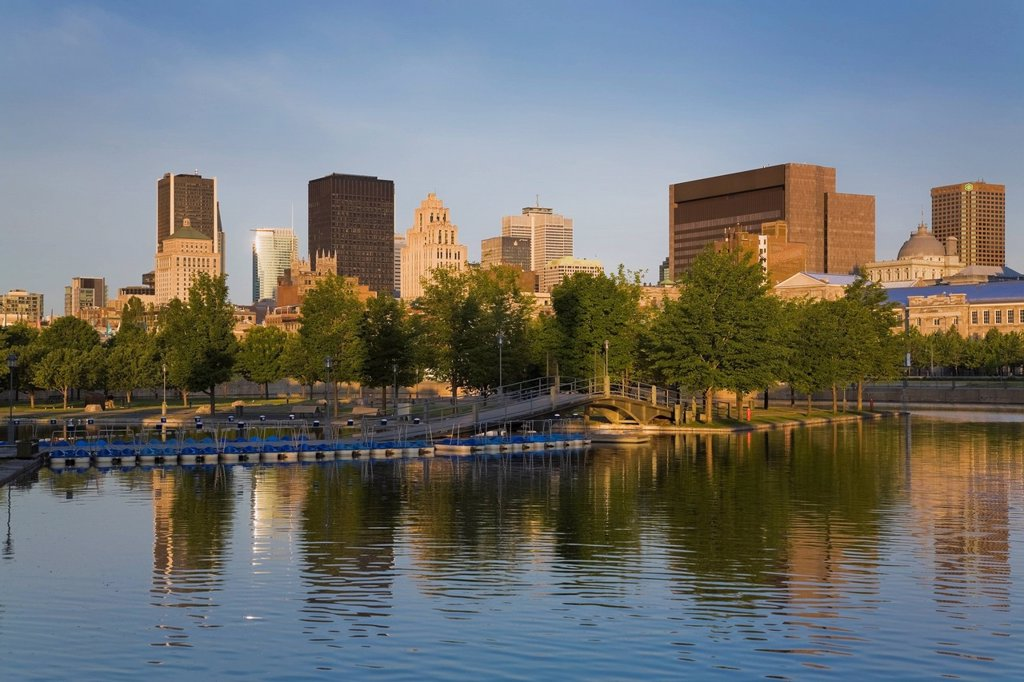 Skyline And The Bonsecours Basin In The Old Port Of Old Montreal At Sunrise, Montreal, Quebec, Canada : Stock Photo