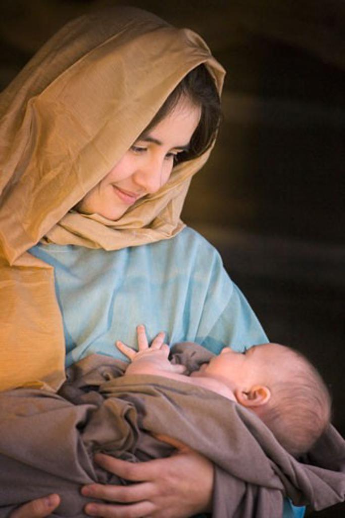 Stock Photo: 1889R-6196 Mary and baby Jesus
