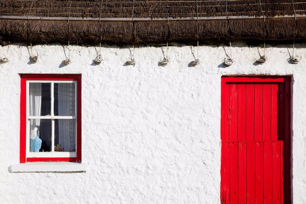 Detail Of Traditional Irish Cottage, Glencolumbkille, County Donegal, Ireland : Stock Photo