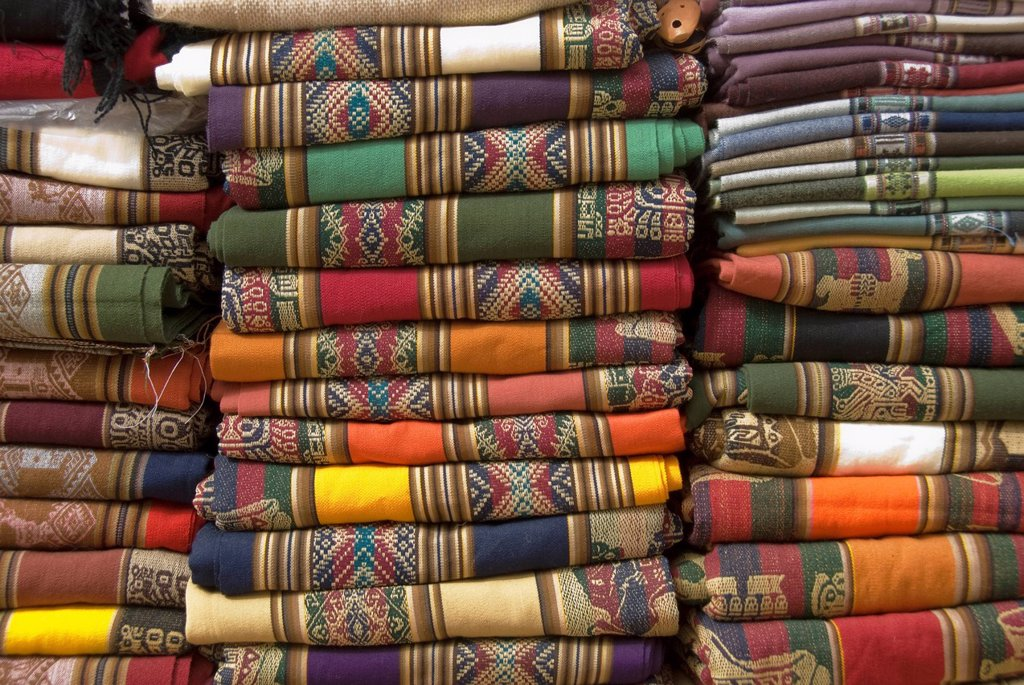 colorful argentine blankets, purmamarca, jujuy, argentina : Stock Photo