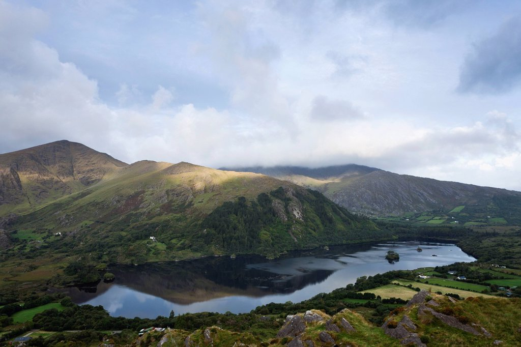 glanmore lake viewed from healy pass, county kerry, ireland : Stock Photo