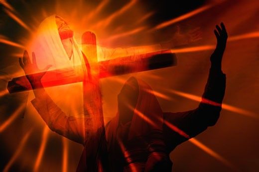 Composition of Jesus' death on cross : Stock Photo