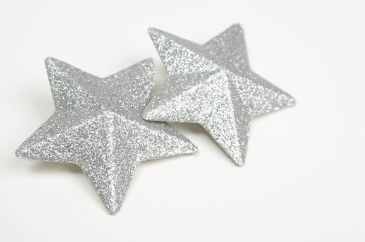 A pair of silver stars : Stock Photo