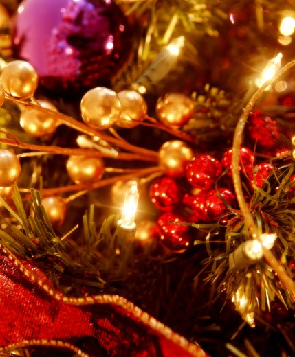 Stock Photo: 1889R-6622 Closeup of Christmas decorations