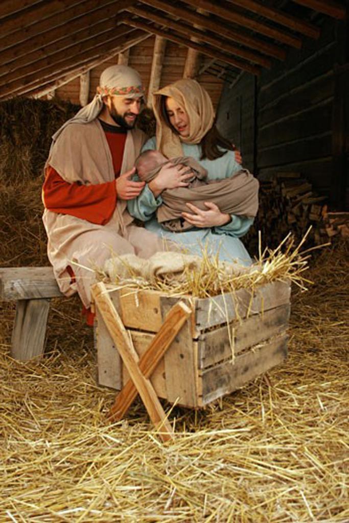 Stock Photo: 1889R-6647 A nativity scene