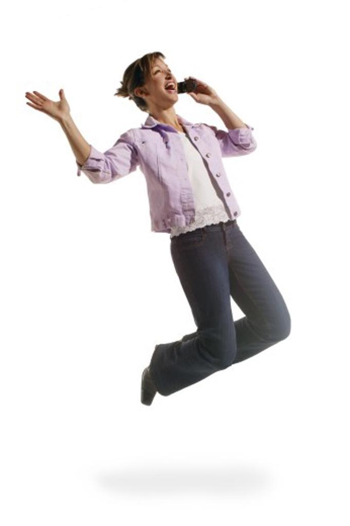 Woman receives good news : Stock Photo