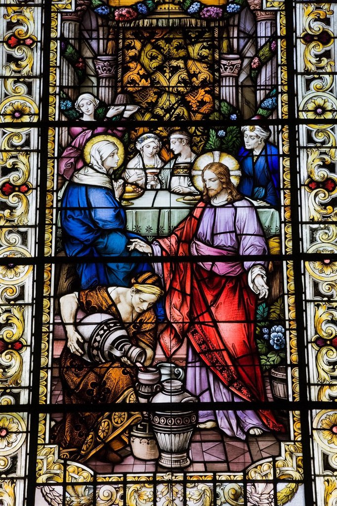 Stock Photo: 1889R-66999 stained glass window depicting a religious scene in cathedral of the holy trinity, quebec city, quebec, canada