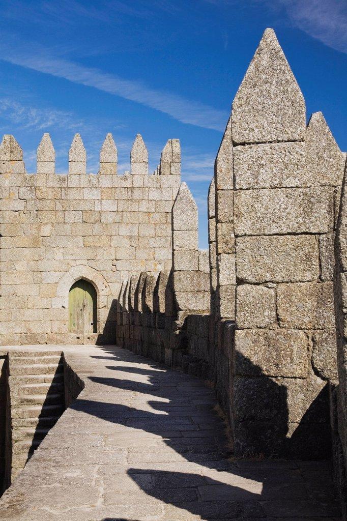exterior of medieval castle, guimaraes, portugal : Stock Photo