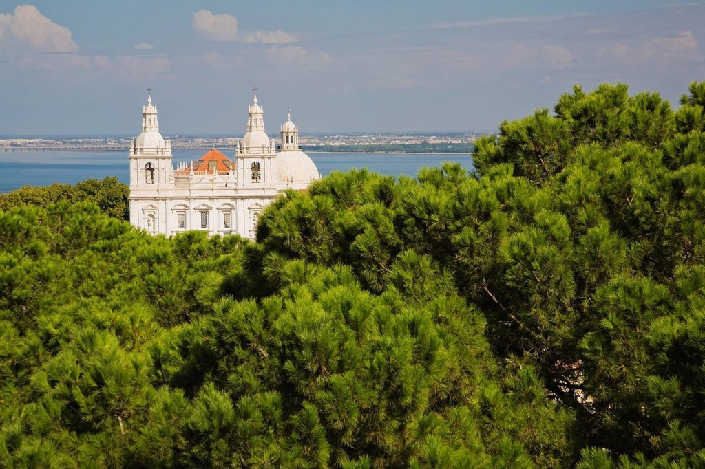 view of a cathedral from st_jorge castle, lisbon, portugal : Stock Photo
