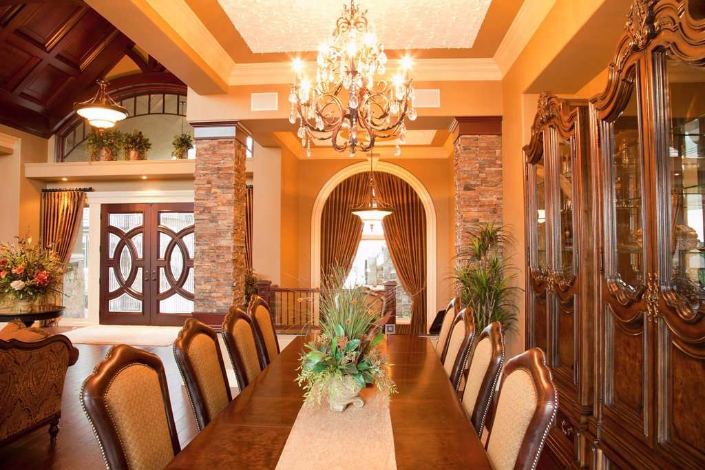 Stock Photo: 1889R-67353 luxurious estate home formal dining room, st. albert, alberta, canada