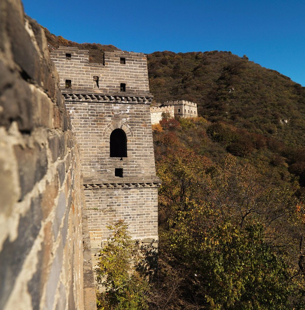 window in the mutianyu section of the great wall of china, beijing, china : Stock Photo