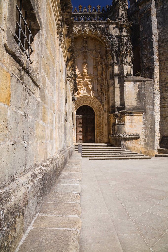 entrance door at the convent of christ, tomar, portugal : Stock Photo