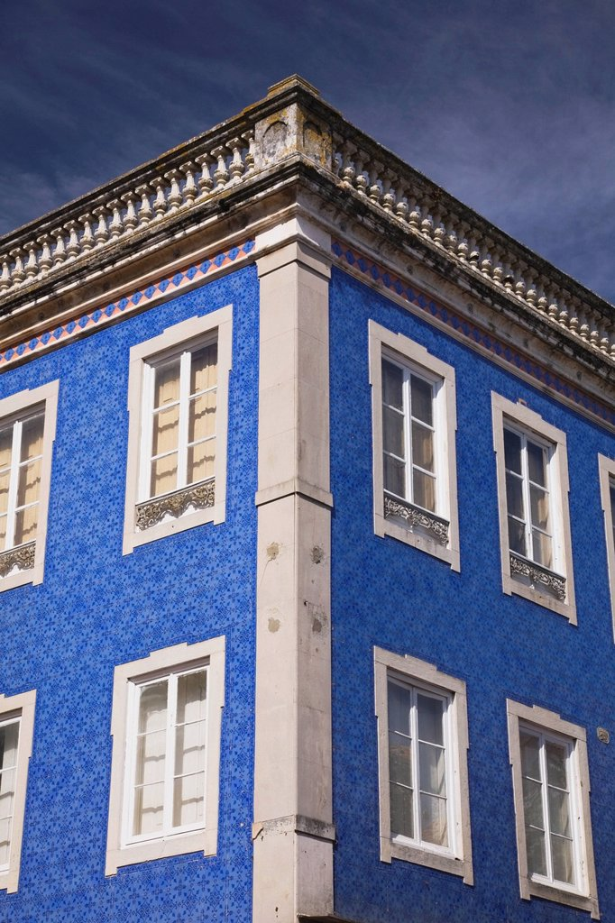 partial view of a building with azulejos ceramic tiles, sintra, portugal : Stock Photo