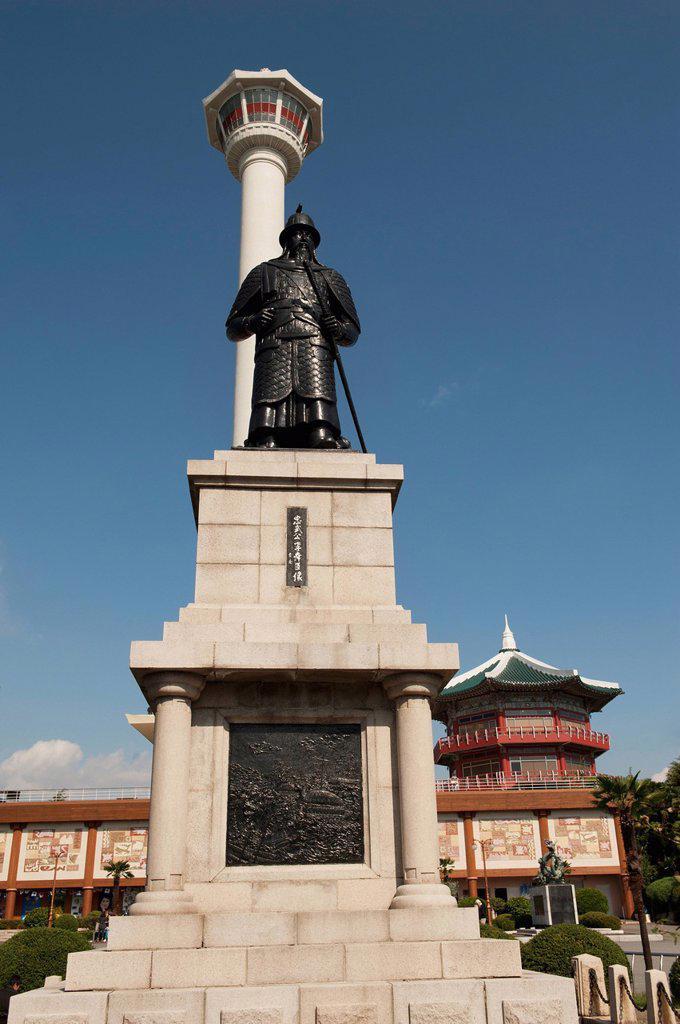 busan tower and statue of admiral yi sun_sin in yongdusan park, busan korea : Stock Photo